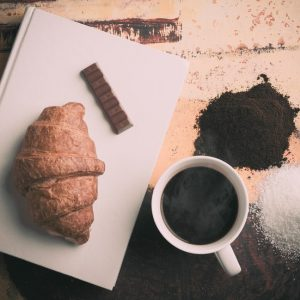 Coffee, chocolate, buttery croissants